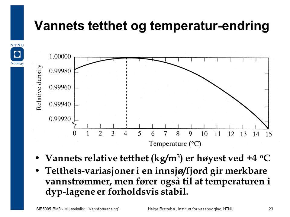 """SIB5005 BM3 - Miljøteknikk: """"Vannforurensing""""Helge Brattebø., Institutt for vassbygging, NTNU 23 Vannets tetthet og temperatur-endring Vannets relativ"""