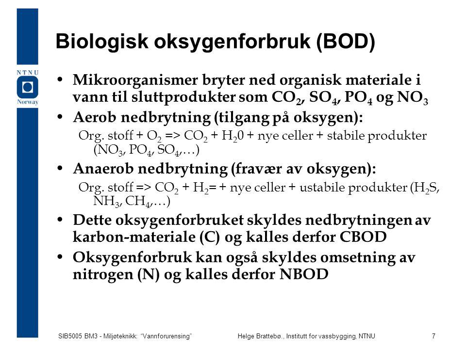 """SIB5005 BM3 - Miljøteknikk: """"Vannforurensing""""Helge Brattebø., Institutt for vassbygging, NTNU 7 Biologisk oksygenforbruk (BOD) Mikroorganismer bryter"""