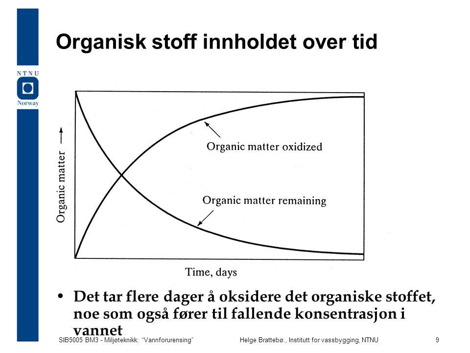 """SIB5005 BM3 - Miljøteknikk: """"Vannforurensing""""Helge Brattebø., Institutt for vassbygging, NTNU 9 Organisk stoff innholdet over tid Det tar flere dager"""
