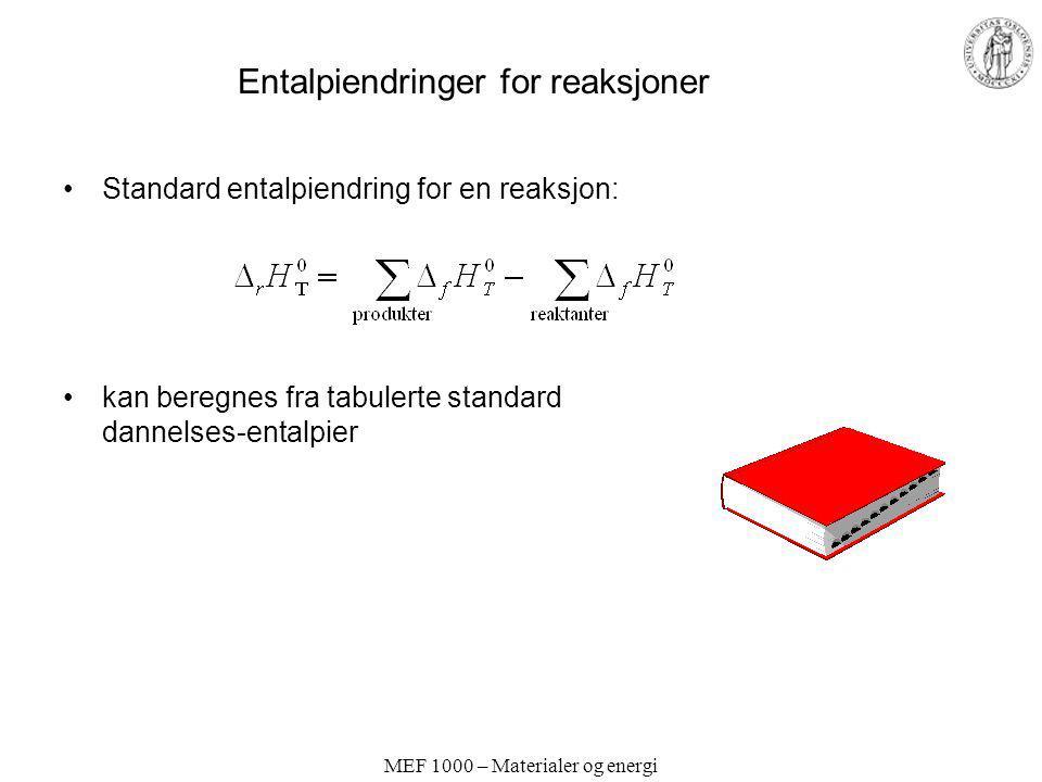 MEF 1000 – Materialer og energi Entalpiendringer for reaksjoner Standard entalpiendring for en reaksjon: kan beregnes fra tabulerte standard dannelses