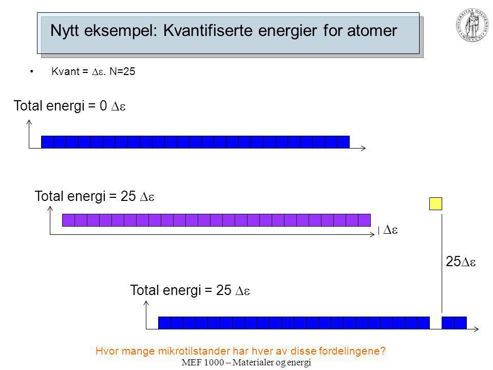 MEF 1000 – Materialer og energi Nytt eksempel: Kvantifiserte energier for atomer Kvant = . N=25 Total energi = 0  Total energi = 25   Total en