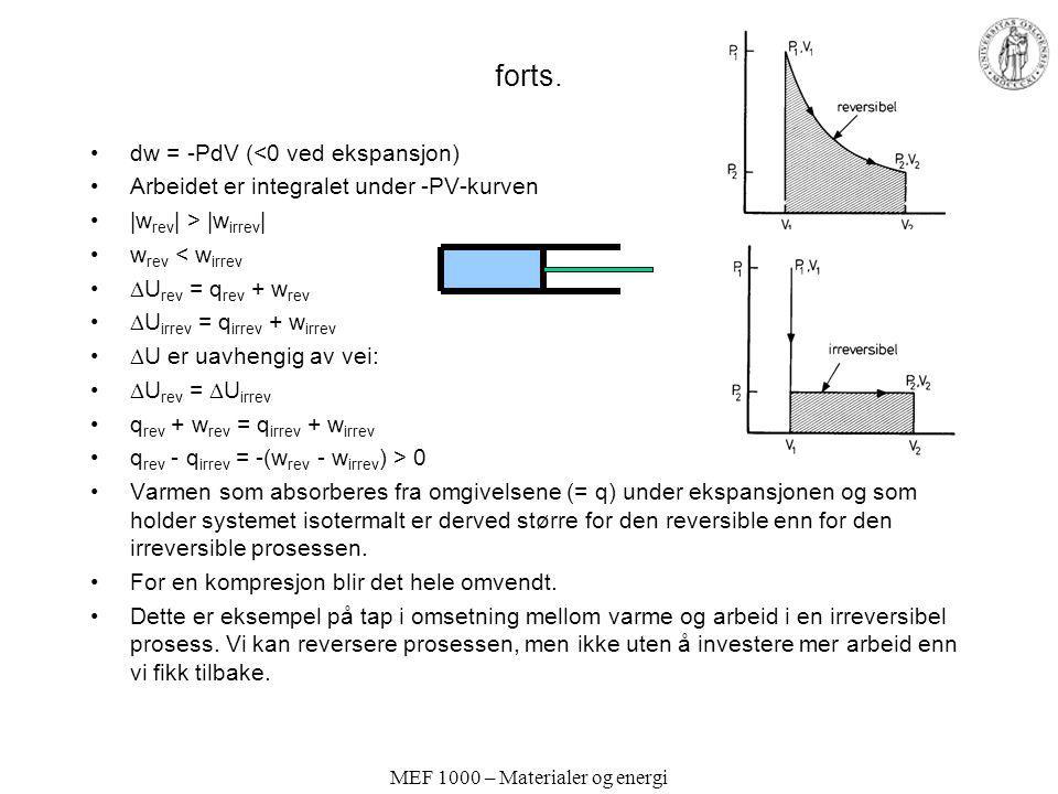 MEF 1000 – Materialer og energi forts. dw = -PdV (<0 ved ekspansjon) Arbeidet er integralet under -PV-kurven |w rev | > |w irrev | w rev < w irrev  U