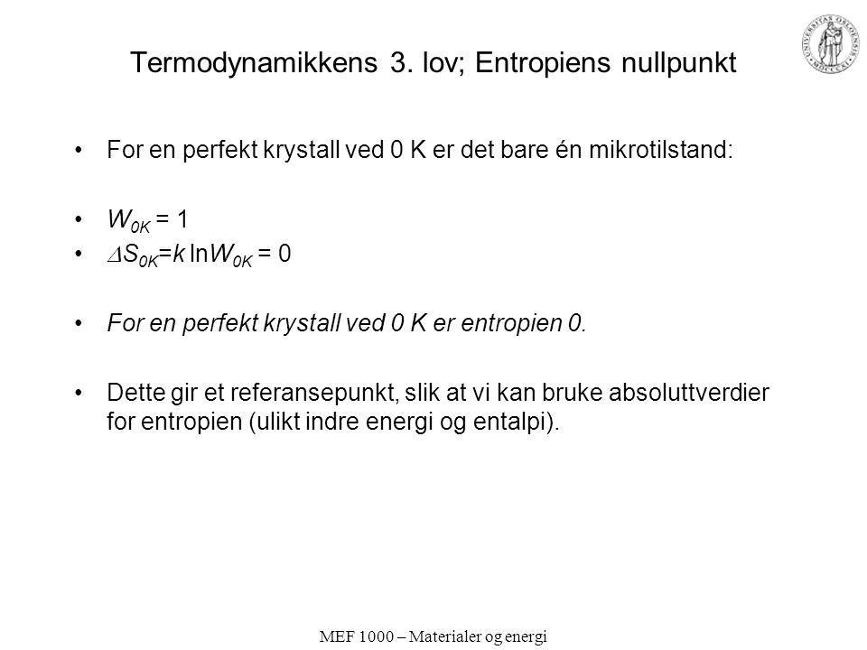 MEF 1000 – Materialer og energi Termodynamikkens 3. lov; Entropiens nullpunkt For en perfekt krystall ved 0 K er det bare én mikrotilstand: W 0K = 1 