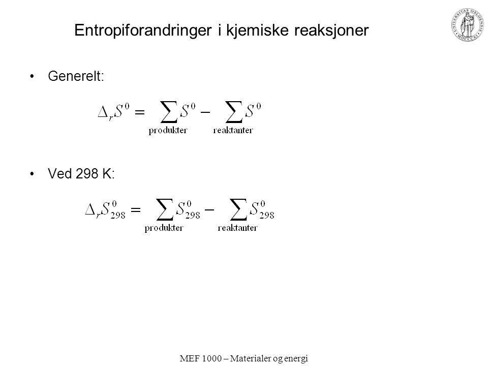 MEF 1000 – Materialer og energi Entropiforandringer i kjemiske reaksjoner Generelt: Ved 298 K: