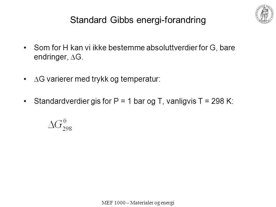 MEF 1000 – Materialer og energi Standard Gibbs energi-forandring Som for H kan vi ikke bestemme absoluttverdier for G, bare endringer,  G.  G varier