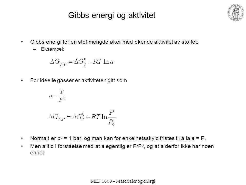 MEF 1000 – Materialer og energi Gibbs energi og aktivitet Gibbs energi for en stoffmengde øker med økende aktivitet av stoffet: –Eksempel: For ideelle