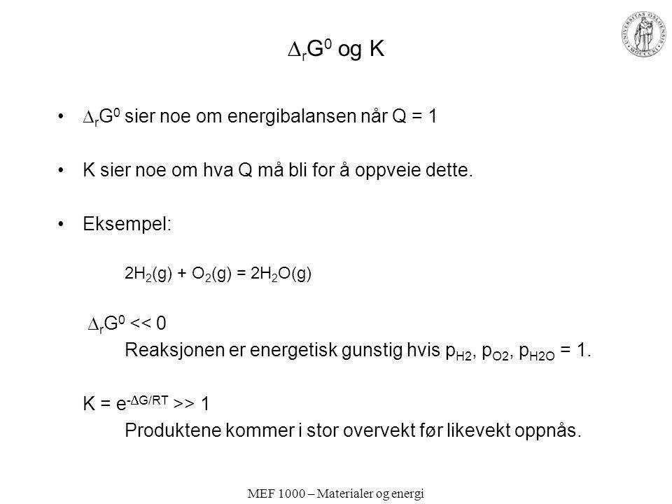 MEF 1000 – Materialer og energi  r G 0 og K  r G 0 sier noe om energibalansen når Q = 1 K sier noe om hva Q må bli for å oppveie dette. Eksempel: 2H