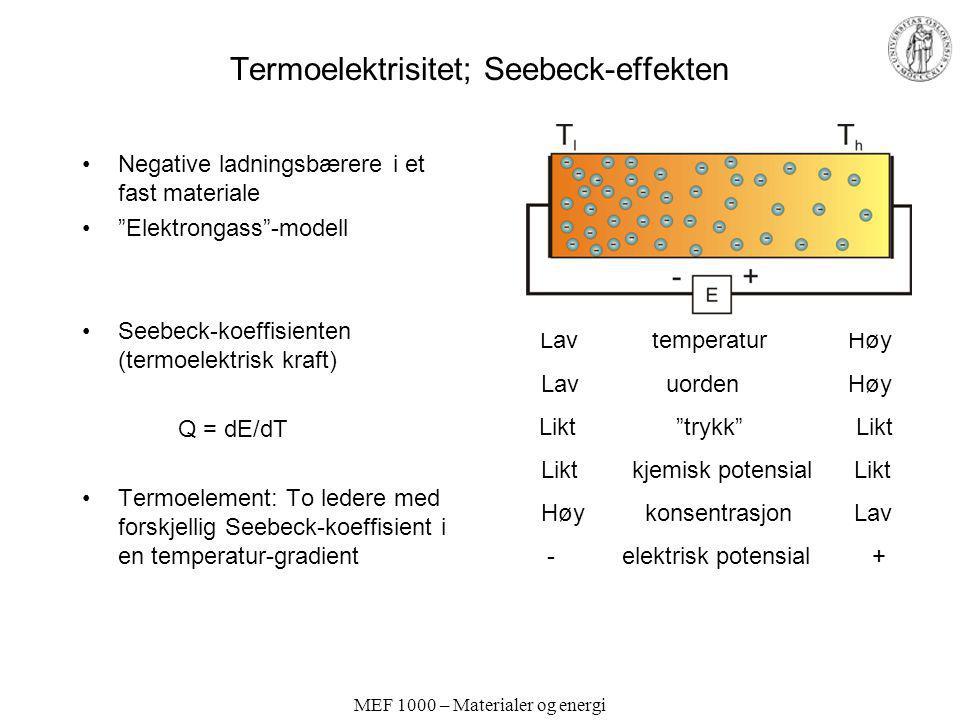 """MEF 1000 – Materialer og energi Termoelektrisitet; Seebeck-effekten Negative ladningsbærere i et fast materiale """"Elektrongass""""-modell Seebeck-koeffisi"""