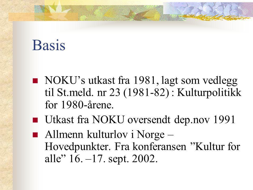 Basis NOKU's utkast fra 1981, lagt som vedlegg til St.meld. nr 23 (1981-82) : Kulturpolitikk for 1980-årene. Utkast fra NOKU oversendt dep.nov 1991 Al