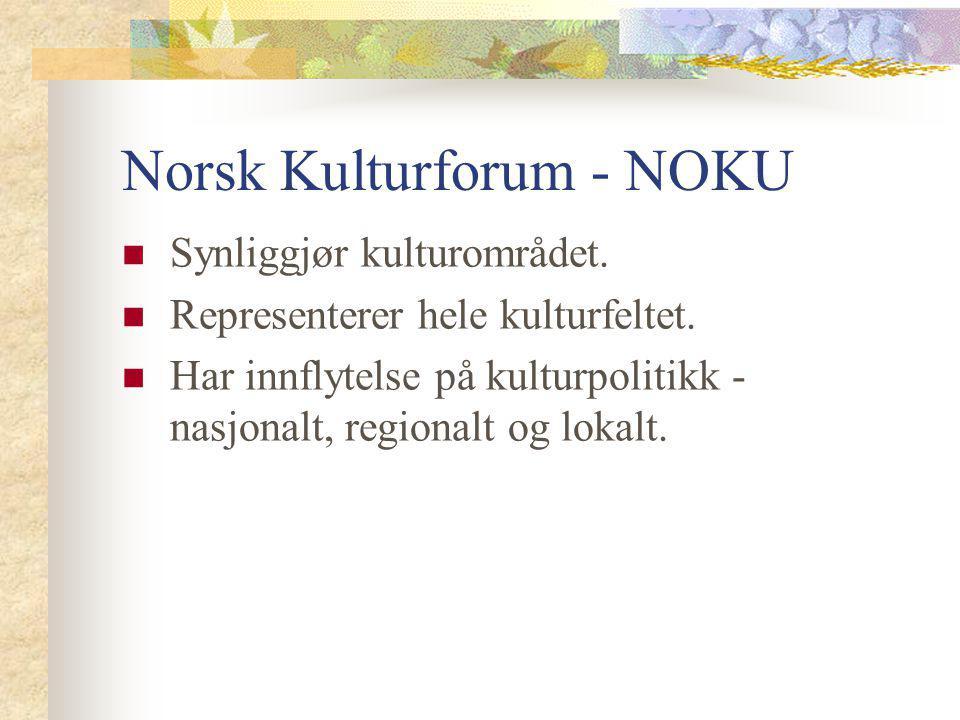 Norsk Kulturforum - NOKU Synliggjør kulturområdet. Representerer hele kulturfeltet. Har innflytelse på kulturpolitikk - nasjonalt, regionalt og lokalt
