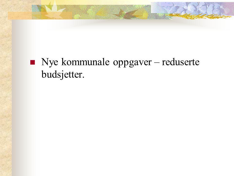 Nye kommunale oppgaver – reduserte budsjetter.