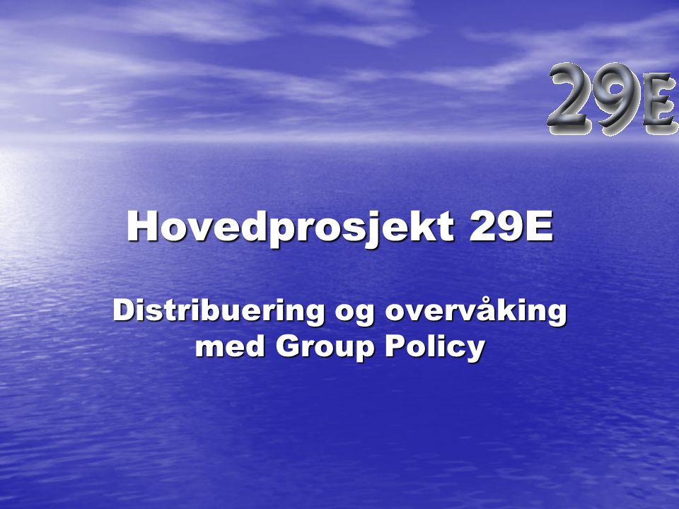Generelt Dette hovedprosjektet består av følgende hovedemner: Distribuering av programvare med Group Policy Distribuering av programvare med Group Policy Auditing for loggføring av aktiviteter på domenet.