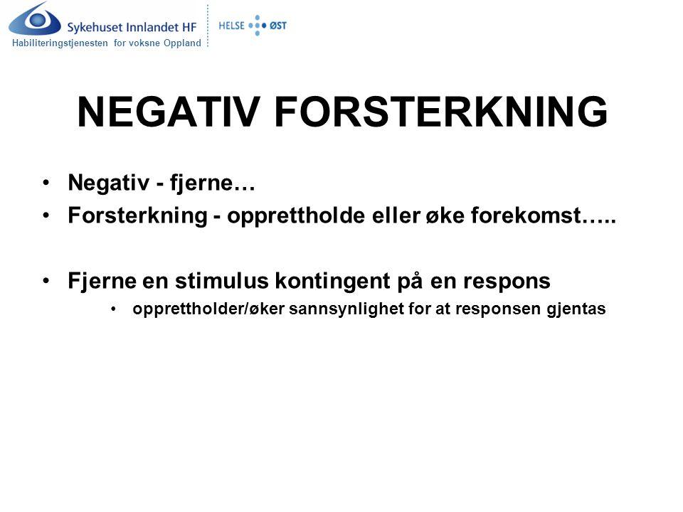 Habiliteringstjenesten for voksne Oppland NEGATIV FORSTERKNING Negativ - fjerne… Forsterkning - opprettholde eller øke forekomst….. Fjerne en stimulus