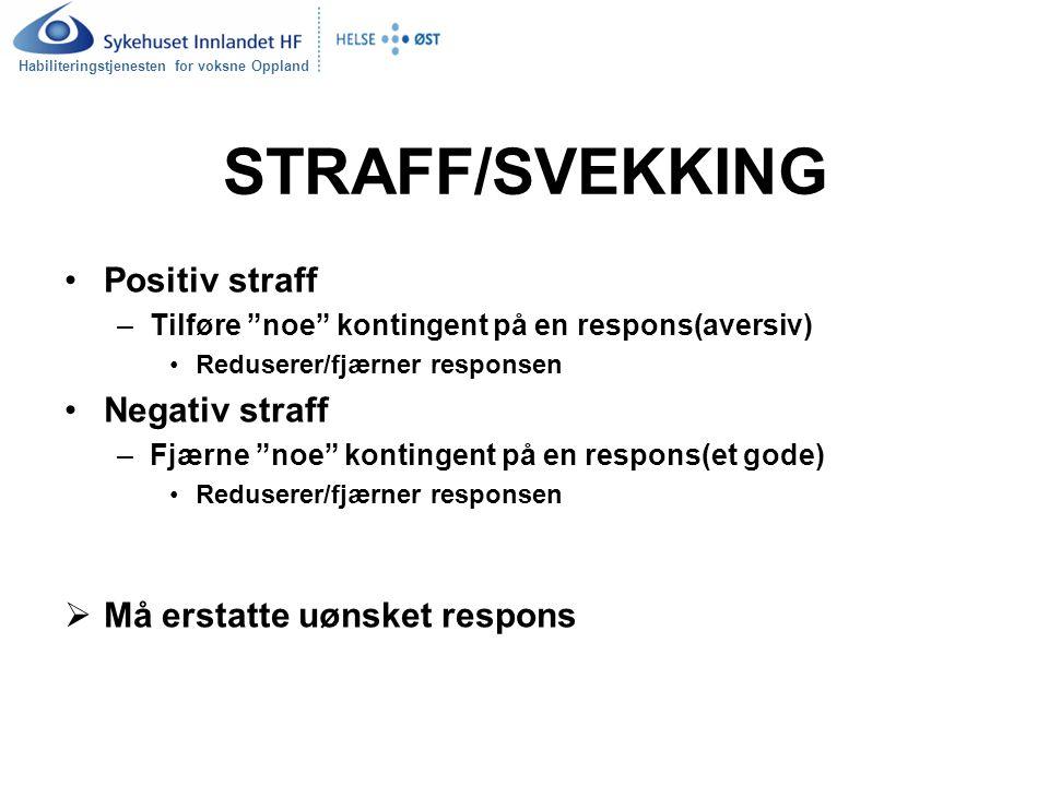 """Habiliteringstjenesten for voksne Oppland STRAFF/SVEKKING Positiv straff –Tilføre """"noe"""" kontingent på en respons(aversiv) Reduserer/fjærner responsen"""