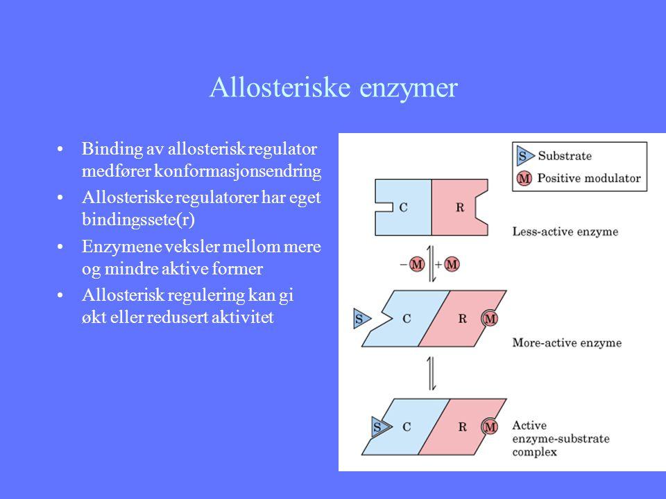 Allosteriske enzymer Binding av allosterisk regulator medfører konformasjonsendring Allosteriske regulatorer har eget bindingssete(r) Enzymene veksler