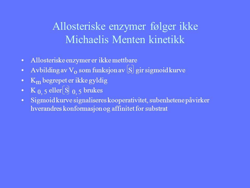 Allosteriske enzymer følger ikke Michaelis Menten kinetikk Allosteriske enzymer er ikke mettbare Avbilding av V o som funksjon av S gir sigmoid kurve