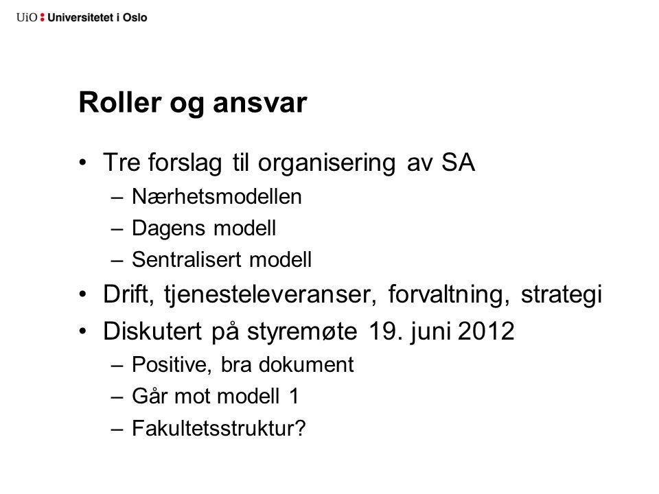 Roller og ansvar Tre forslag til organisering av SA –Nærhetsmodellen –Dagens modell –Sentralisert modell Drift, tjenesteleveranser, forvaltning, strat