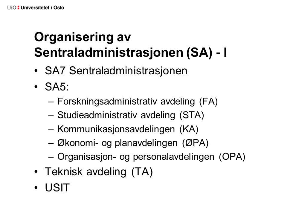 Organisering av Sentraladministrasjonen (SA) - I SA7 Sentraladministrasjonen SA5: –Forskningsadministrativ avdeling (FA) –Studieadministrativ avdeling