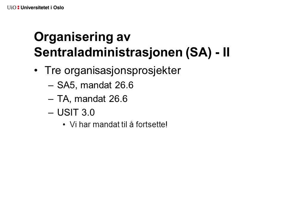 Organisering av Sentraladministrasjonen (SA) - II Tre organisasjonsprosjekter –SA5, mandat 26.6 –TA, mandat 26.6 –USIT 3.0 Vi har mandat til å fortset