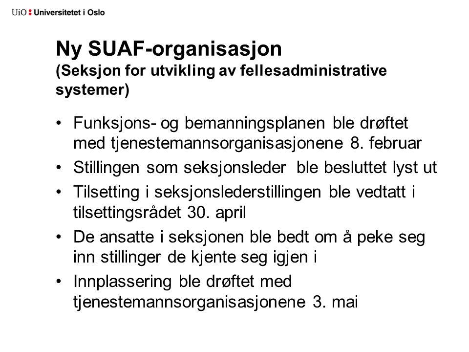 Ny SUAF-organisasjon (Seksjon for utvikling av fellesadministrative systemer) Funksjons- og bemanningsplanen ble drøftet med tjenestemannsorganisasjon