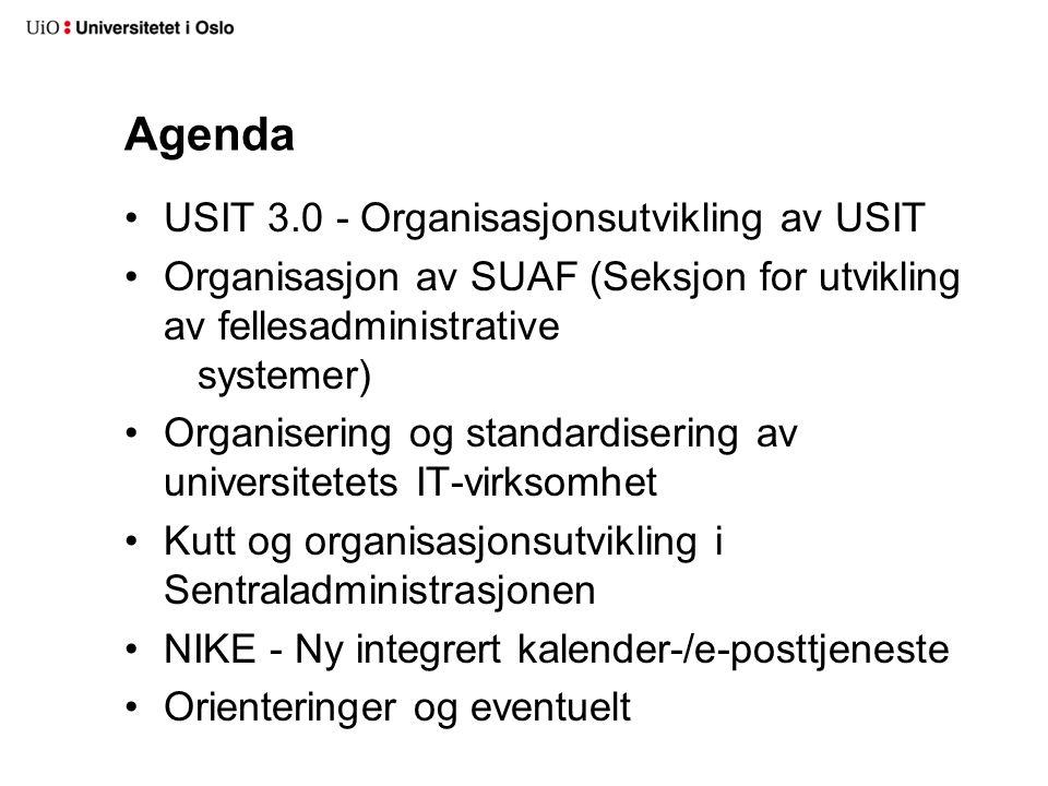 Agenda USIT 3.0 - Organisasjonsutvikling av USIT Organisasjon av SUAF (Seksjon for utvikling av fellesadministrative systemer) Organisering og standar