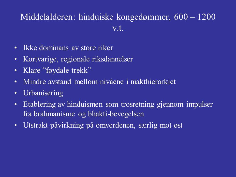 """Middelalderen: hinduiske kongedømmer, 600 – 1200 v.t. Ikke dominans av store riker Kortvarige, regionale riksdannelser Klare """"føydale trekk"""" Mindre av"""
