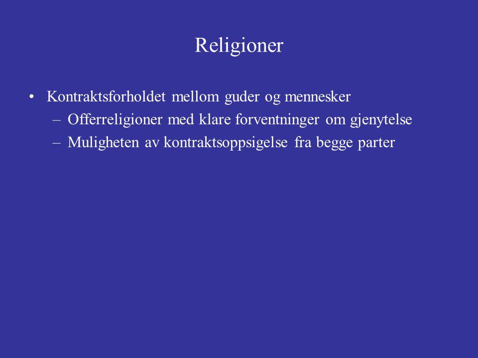 Religioner Kontraktsforholdet mellom guder og mennesker –Offerreligioner med klare forventninger om gjenytelse –Muligheten av kontraktsoppsigelse fra