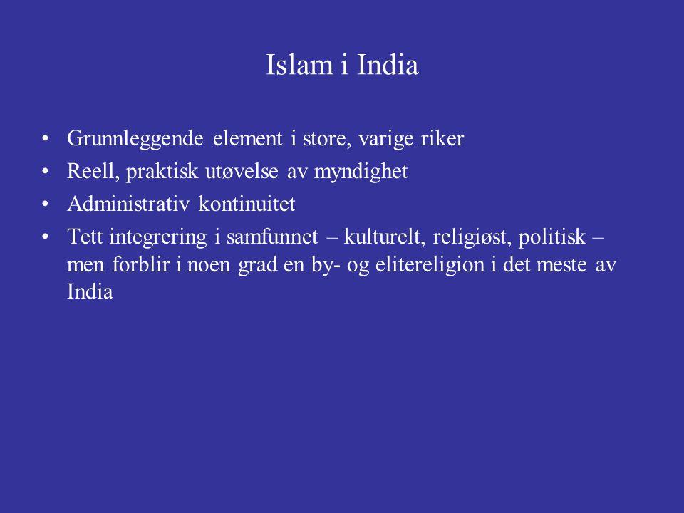 Islam i India Grunnleggende element i store, varige riker Reell, praktisk utøvelse av myndighet Administrativ kontinuitet Tett integrering i samfunnet