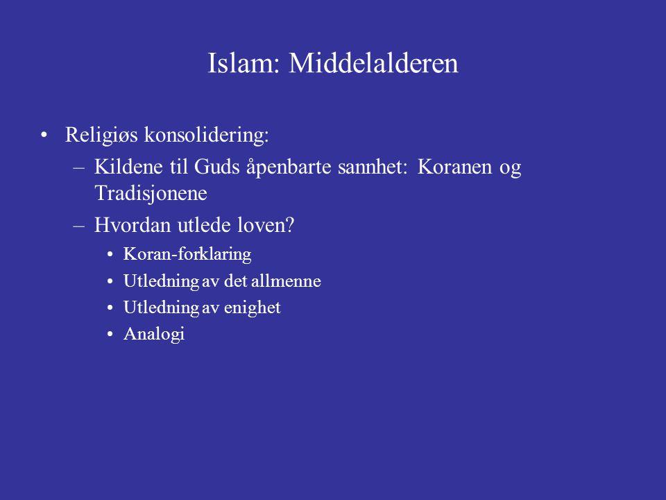 Islam: Middelalderen Religiøs konsolidering: –Kildene til Guds åpenbarte sannhet: Koranen og Tradisjonene –Hvordan utlede loven? Koran-forklaring Utle