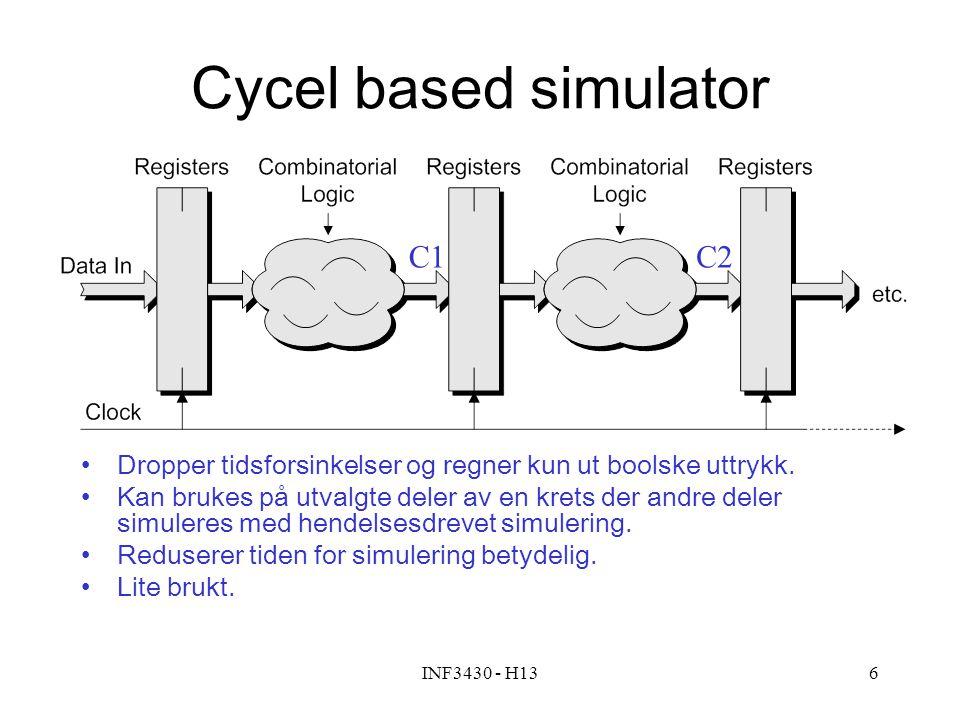 INF3430 - H136 Cycel based simulator Dropper tidsforsinkelser og regner kun ut boolske uttrykk. Kan brukes på utvalgte deler av en krets der andre del