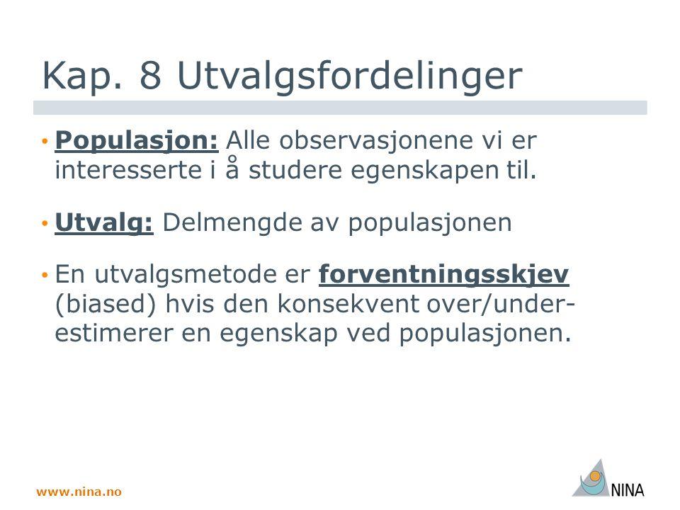 www.nina.no Kap. 8 Utvalgsfordelinger Populasjon: Alle observasjonene vi er interesserte i å studere egenskapen til. Utvalg: Delmengde av populasjonen