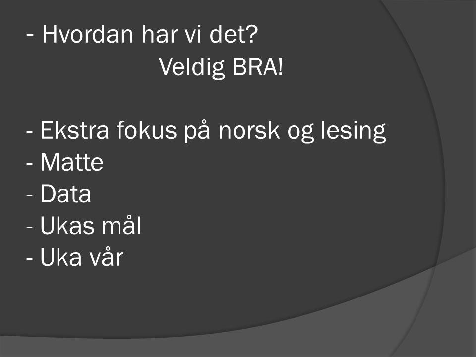 - Hvordan har vi det? Veldig BRA! - Ekstra fokus på norsk og lesing - Matte - Data - Ukas mål - Uka vår