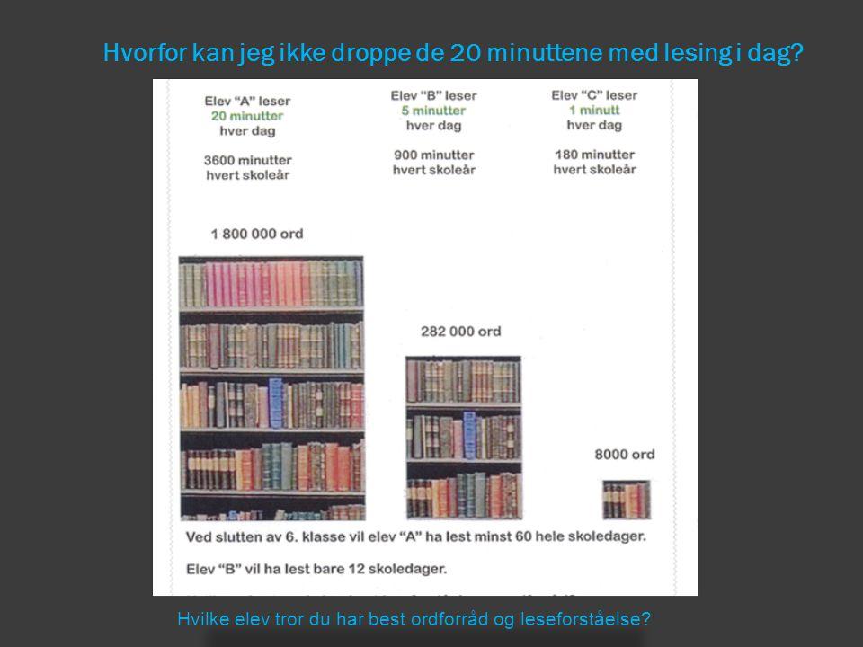 Hvorfor kan jeg ikke droppe de 20 minuttene med lesing i dag? Hvilke elev tror du har best ordforråd og leseforståelse?