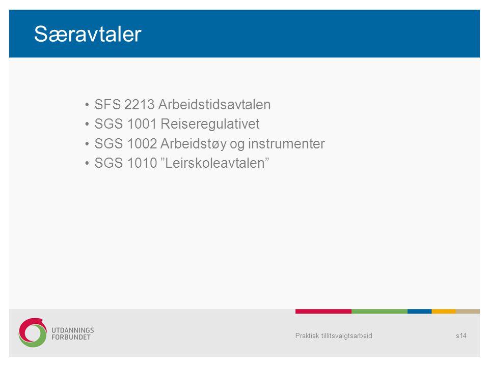 Særavtaler SFS 2213 Arbeidstidsavtalen SGS 1001 Reiseregulativet SGS 1002 Arbeidstøy og instrumenter SGS 1010 Leirskoleavtalen Praktisk tillitsvalgtsarbeids14