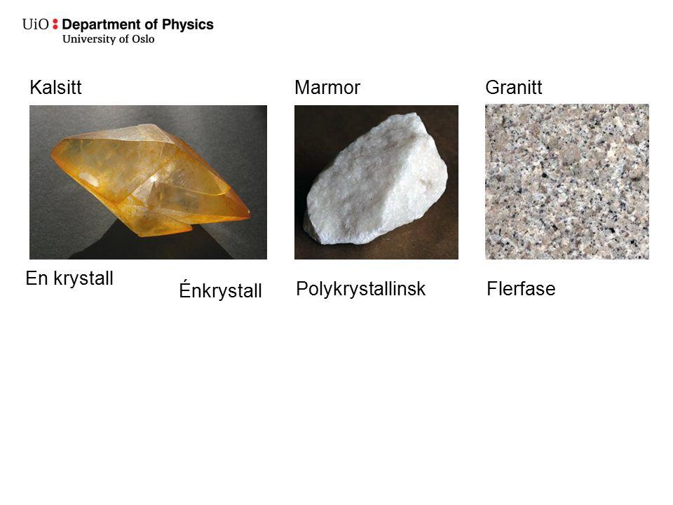 PolykrystallinskFlerfase En krystall Énkrystall KalsittMarmorGranitt