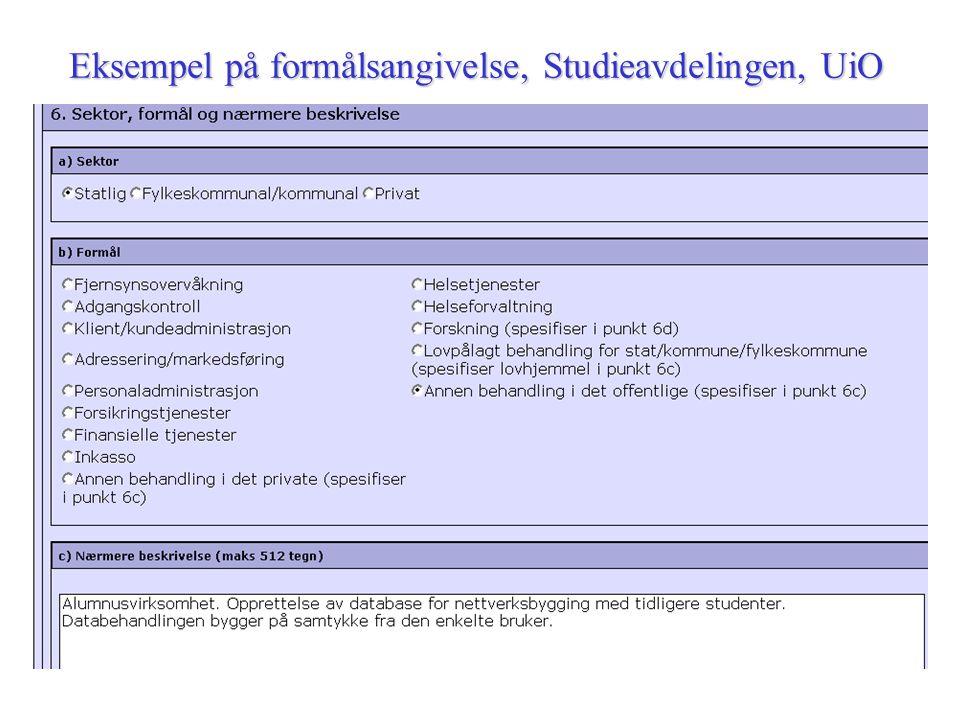 Eksempel på formålsangivelse, Studieavdelingen, UiO