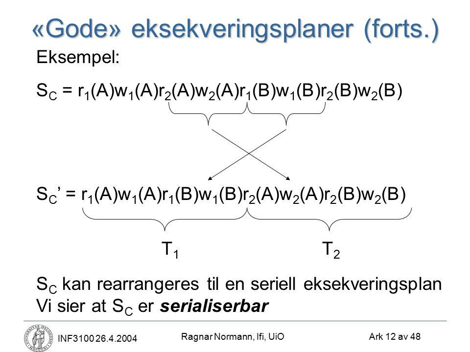 Ragnar Normann, Ifi, UiO Ark 12 av 48 INF3100 26.4.2004 «Gode» eksekveringsplaner (forts.) Eksempel: S C = r 1 (A)w 1 (A)r 2 (A)w 2 (A)r 1 (B)w 1 (B)r