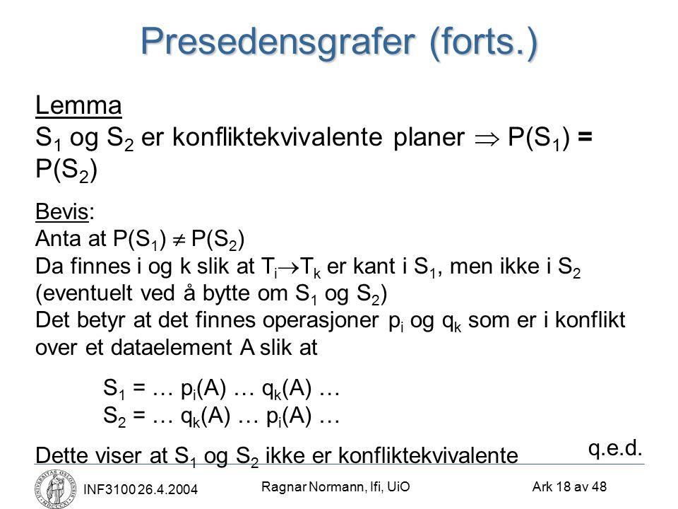 Ragnar Normann, Ifi, UiO Ark 18 av 48 INF3100 26.4.2004 Presedensgrafer (forts.) Lemma S 1 og S 2 er konfliktekvivalente planer  P(S 1 ) = P(S 2 ) Bevis: Anta at P(S 1 )  P(S 2 ) Da finnes i og k slik at T i  T k er kant i S 1, men ikke i S 2 (eventuelt ved å bytte om S 1 og S 2 ) Det betyr at det finnes operasjoner p i og q k som er i konflikt over et dataelement A slik at S 1 = … p i (A) … q k (A) … S 2 = … q k (A) … p i (A) … Dette viser at S 1 og S 2 ikke er konfliktekvivalente q.e.d.