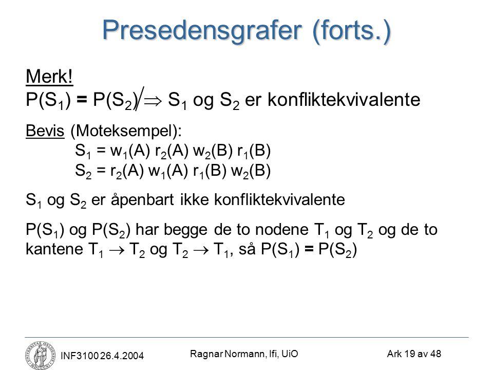Ragnar Normann, Ifi, UiO Ark 19 av 48 INF3100 26.4.2004 Presedensgrafer (forts.) Merk! P(S 1 ) = P(S 2 )  S 1 og S 2 er konfliktekvivalente Bevis (Mo