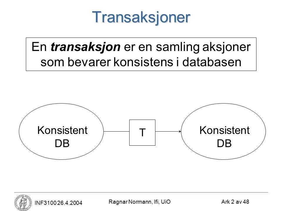 Ragnar Normann, Ifi, UiO Ark 2 av 48 INF3100 26.4.2004Transaksjoner En transaksjon er en samling aksjoner som bevarer konsistens i databasen Konsistent DB T