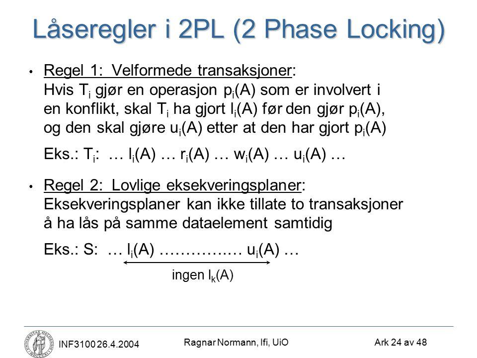Ragnar Normann, Ifi, UiO Ark 24 av 48 INF3100 26.4.2004 Låseregler i 2PL (2 Phase Locking) Regel 1: Velformede transaksjoner: Hvis T i gjør en operasj