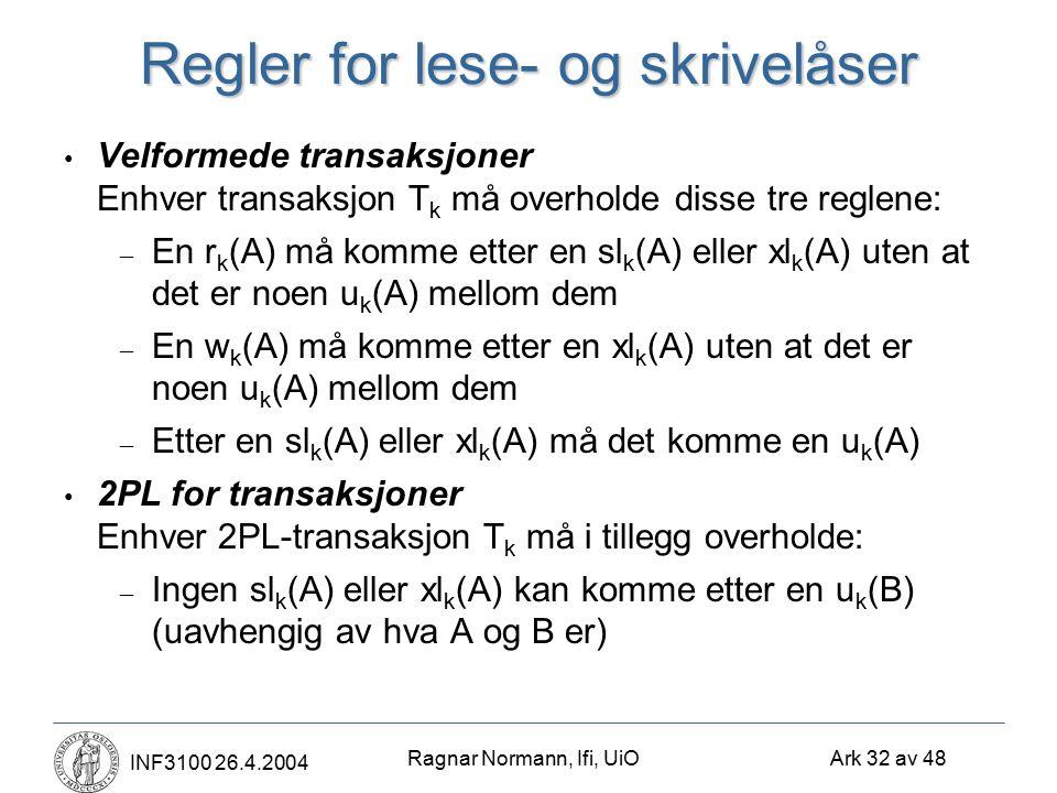 Ragnar Normann, Ifi, UiO Ark 32 av 48 INF3100 26.4.2004 Regler for lese- og skrivelåser Velformede transaksjoner Enhver transaksjon T k må overholde disse tre reglene: – En r k (A) må komme etter en sl k (A) eller xl k (A) uten at det er noen u k (A) mellom dem – En w k (A) må komme etter en xl k (A) uten at det er noen u k (A) mellom dem – Etter en sl k (A) eller xl k (A) må det komme en u k (A) 2PL for transaksjoner Enhver 2PL-transaksjon T k må i tillegg overholde: – Ingen sl k (A) eller xl k (A) kan komme etter en u k (B) (uavhengig av hva A og B er)