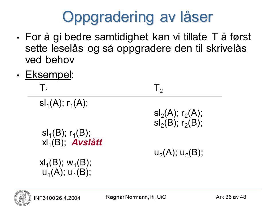 Ragnar Normann, Ifi, UiO Ark 36 av 48 INF3100 26.4.2004 Oppgradering av låser For å gi bedre samtidighet kan vi tillate T å først sette leselås og så oppgradere den til skrivelås ved behov Eksempel: T 1 T 2 sl 1 (A); r 1 (A); sl 2 (A); r 2 (A); sl 2 (B); r 2 (B); sl 1 (B); r 1 (B); xl 1 (B);Avslått u 2 (A); u 2 (B); xl 1 (B); w 1 (B); u 1 (A); u 1 (B);