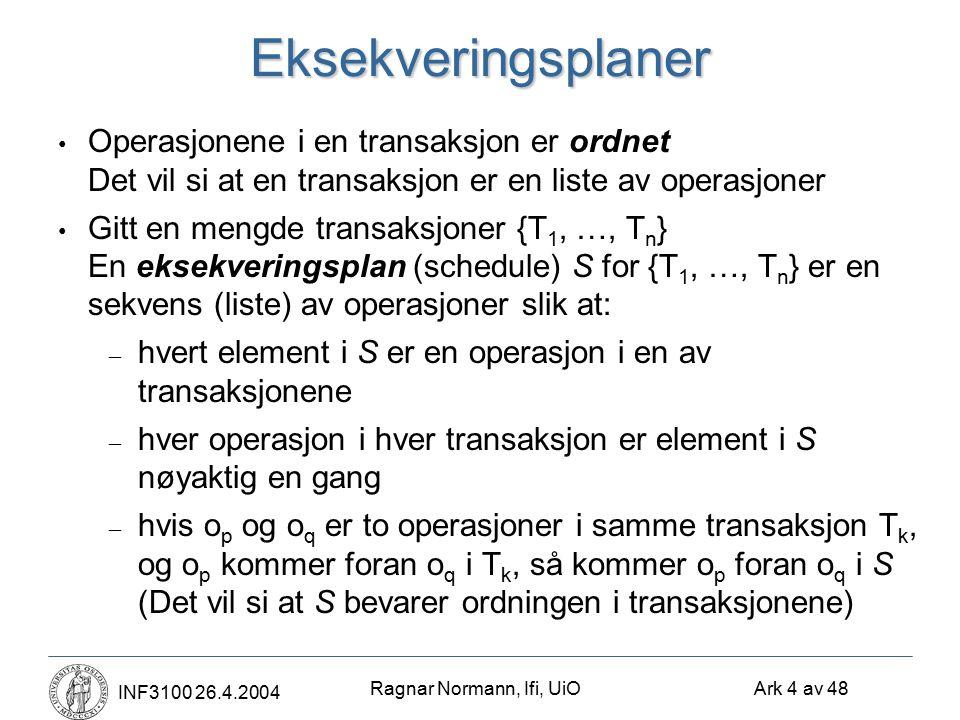 Ragnar Normann, Ifi, UiO Ark 4 av 48 INF3100 26.4.2004Eksekveringsplaner Operasjonene i en transaksjon er ordnet Det vil si at en transaksjon er en li