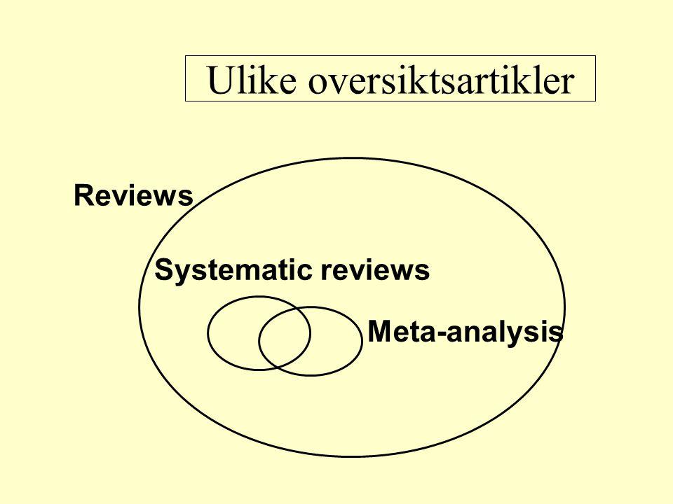 Reviews Meta-analysis Systematic reviews Ulike oversiktsartikler