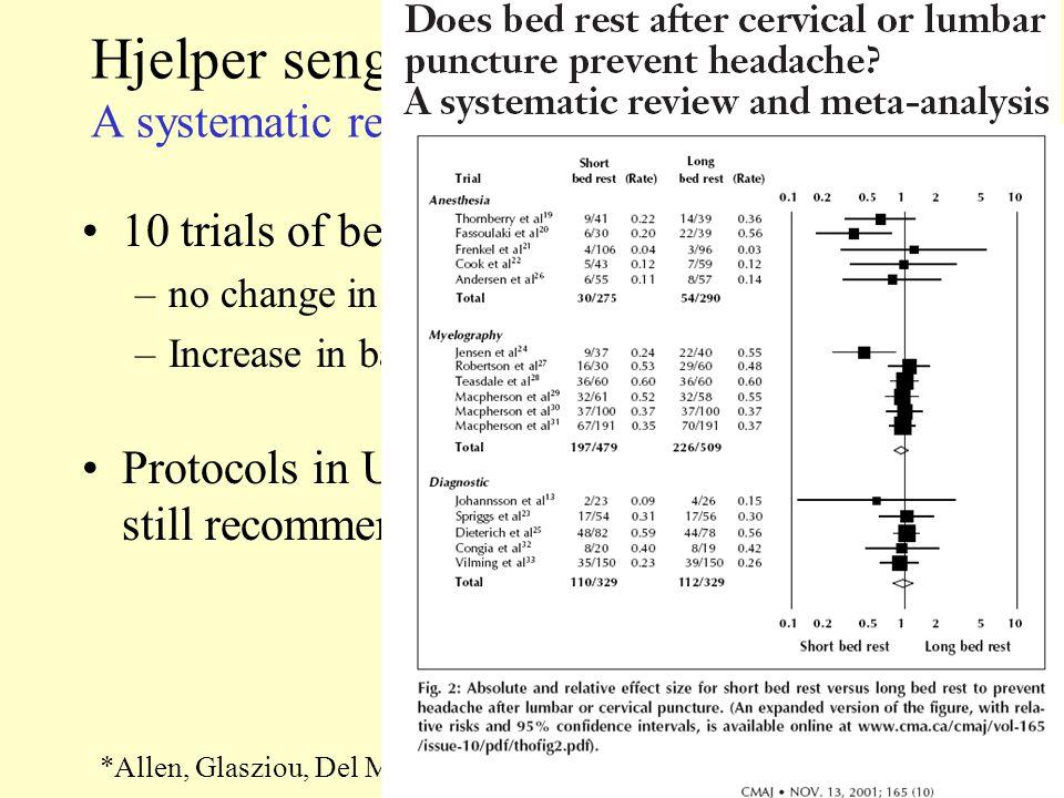 Hjelper sengeleie.A systematic review of trials* *Allen, Glasziou, Del Mar.