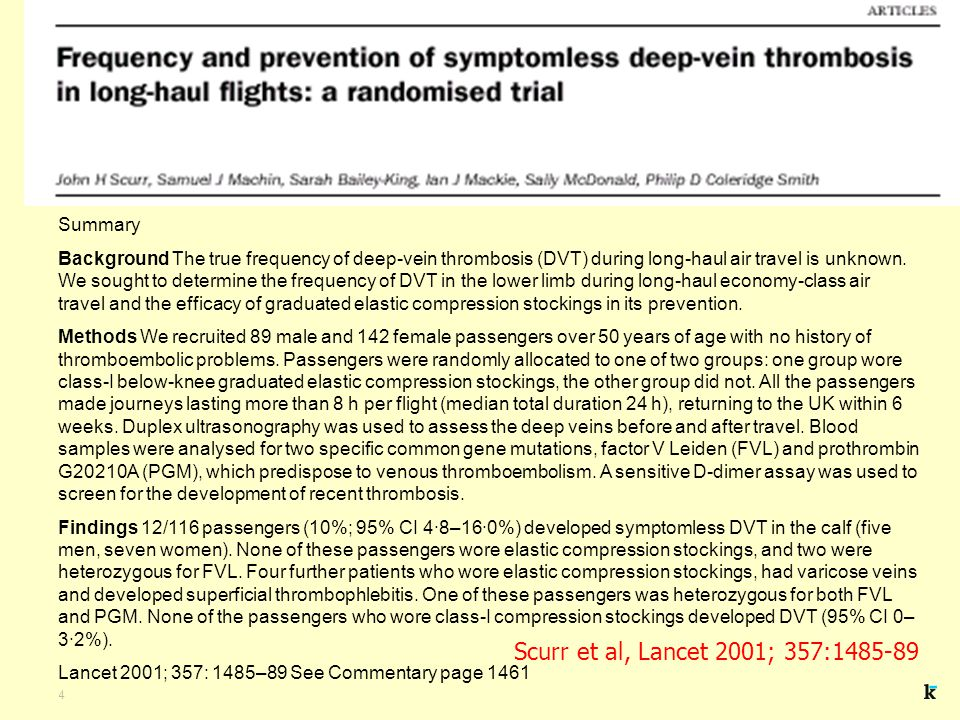 4 Summary Background The true frequency of deep-vein thrombosis (DVT) during long-haul air travel is unknown.