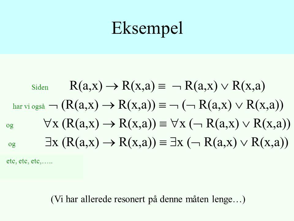 Siden R(a,x)  R(x,a)   R(a,x)  R(x,a) har vi også  (R(a,x)  R(x,a))   (  R(a,x)  R(x,a)) og  x (R(a,x)  R(x,a))   x (  R(a,x)  R(x,a)) og  x (R(a,x)  R(x,a))   x (  R(a,x)  R(x,a)) Eksempel (Vi har allerede resonert på denne måten lenge…) etc, etc, etc,…..