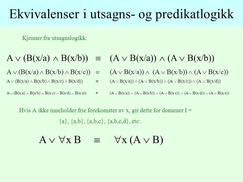 Kjenner fra utsagnslogikk: Ekvivalenser i utsagns- og predikatlogikk A  (B(x/a)  B(x/b))  (A  B(x/a))  (A  B(x/b)) A  (B(x/a)  B(x/b)  B(x/c))  (A  B(x/a))  (A  B(x/b))  (A  B(x/c)) A  (B(x/a)  B(x/b)  B(x/c)  B(x/d))  (A  B(x/a))  (A  B(x/b))  (A  B(x/c))  (A  B(x/d)) A  (B(x/a)  B(x/b)  B(x/c)  B(x/d)  B(x/e))  (A  B(x/a))  (A  B(x/b))  (A  B(x/c))  (A  B(x/d))  (A  B(x/e)) Hvis A ikke inneholder frie forekomster av x, gir dette for domener I = {a}, {a,b}, {a,b,c}, {a,b,c,d}, etc: A   x B   x (A  B)