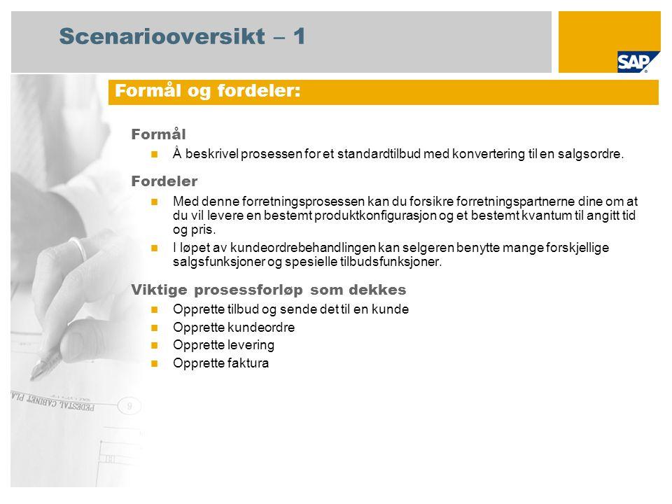 Scenariooversikt – 1 Formål Å beskrivel prosessen for et standardtilbud med konvertering til en salgsordre. Fordeler Med denne forretningsprosessen ka